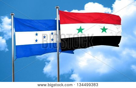 Honduras flag with Syria flag, 3D rendering