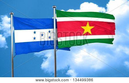 Honduras flag with Suriname flag, 3D rendering