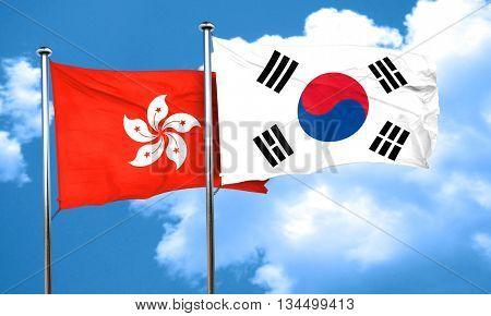hong kong flag with South Korea flag, 3D rendering
