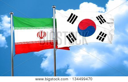 iran flag with South Korea flag, 3D rendering