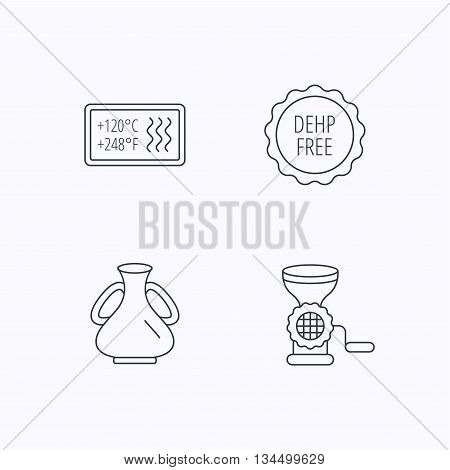 Meat grinder, vase and heat-resistant icons. DEHP free linear sign. Flat linear icons on white background. Vector