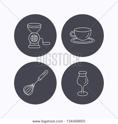 Coffee cup, whisk and wineglass icons. Meat grinder linear sign. Flat icons in circle buttons on white background. Vector