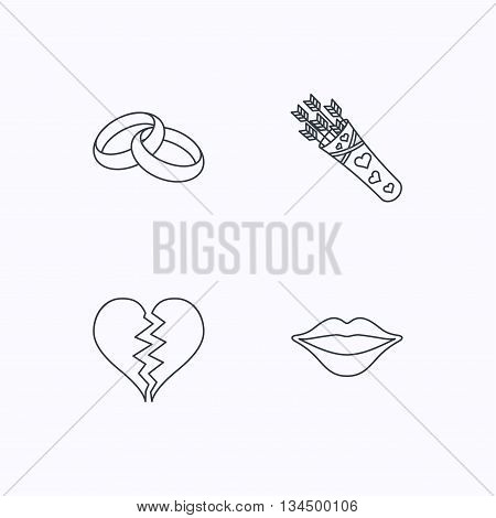Broken heart, kiss and wedding rings icons. Valentine amour arrows linear sign. Flat linear icons on white background. Vector