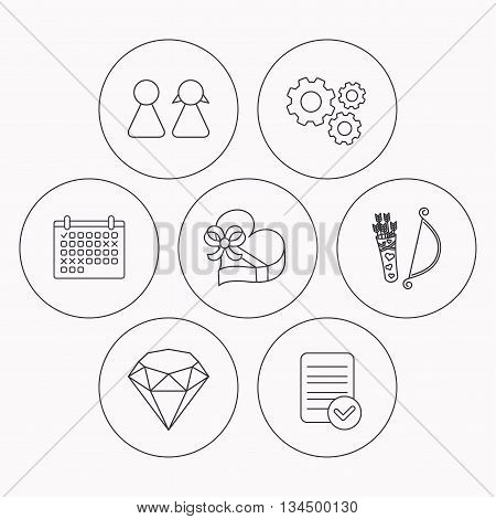 Couple, brilliant and engagement gift box icons. Valentine amour arrows linear signs. Check file, calendar and cogwheel icons. Vector