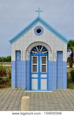 Le Vauclin; Martinique France - august 25 2015 : the picturesque chapel on the seafront