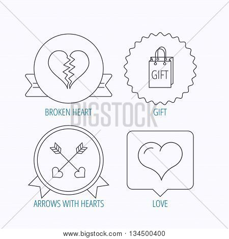 Love heart, gift box and arrows icons. Broken heart or divorce linear signs. Award medal, star label and speech bubble designs. Vector
