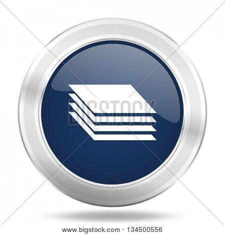 layers icon, dark blue round metallic internet button, web and mobile app illustration