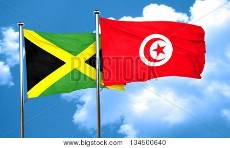 Jamaica flag with Tunisia flag, 3D rendering