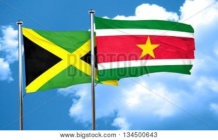 Jamaica flag with Suriname flag, 3D rendering