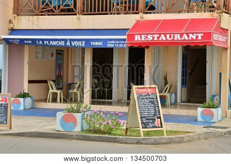 Le Vauclin; Martinique France - august 12 2015 : a restaurant on the seafront