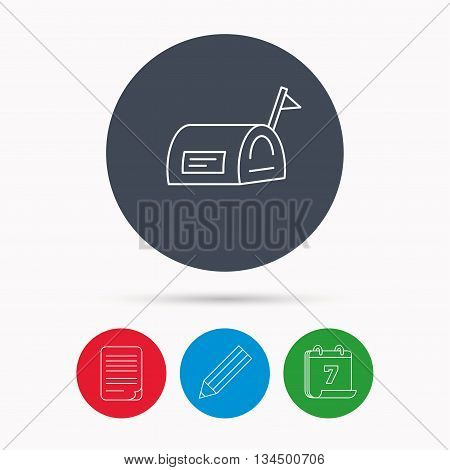 Mailbox with flag icon. Post email box sign. Calendar, pencil or edit and document file signs. Vector