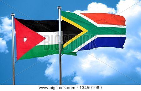 Jordan flag with South Africa flag, 3D rendering
