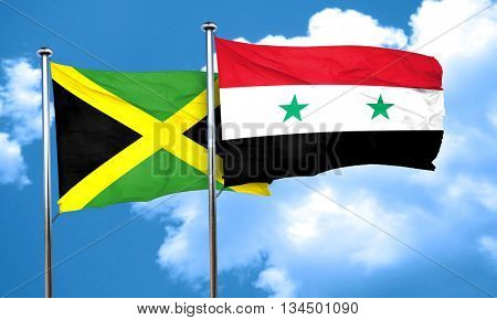 Jamaica flag with Syria flag, 3D rendering