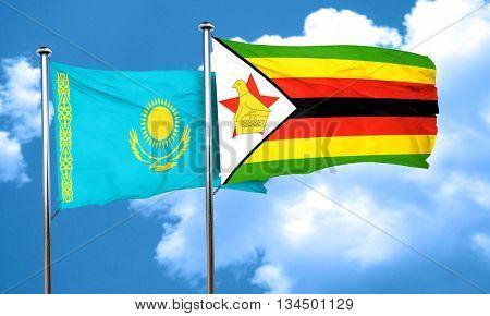 Kazakhstan flag with Zimbabwe flag, 3D rendering