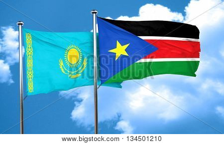 Kazakhstan flag with South Sudan flag, 3D rendering