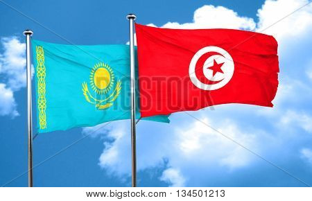 Kazakhstan flag with Tunisia flag, 3D rendering