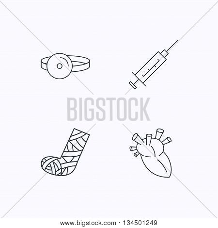 Syringe, heart and gypsum icons. Medical mirror linear sign. Flat linear icons on white background. Vector