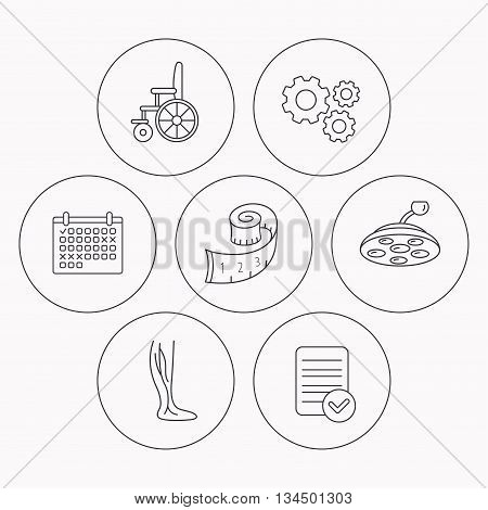 Weight loss, wheelchair and vein varicose icons. Surgical lamp and phlebology linear signs. Check file, calendar and cogwheel icons. Vector