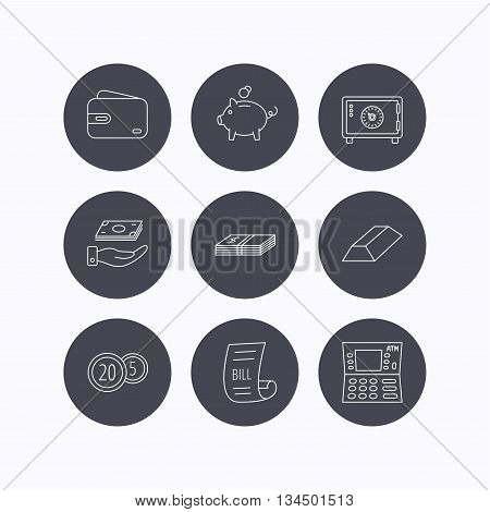 Piggy bank, cash money and wallet icons. Safe box, gold bar and dollar usd linear signs. Bill, coins and ATM icons. Flat icons in circle buttons on white background. Vector