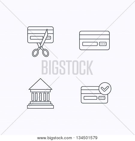 Bank credit card, approved card icons. Expired credit card linear sign. Flat linear icons on white background. Vector