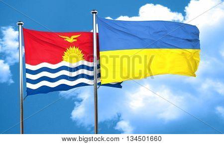 Kiribati flag with Ukraine flag, 3D rendering