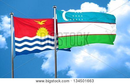 Kiribati flag with Uzbekistan flag, 3D rendering