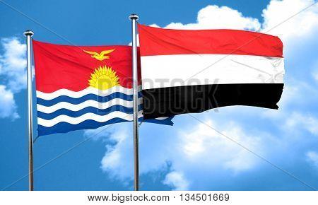 Kiribati flag with Yemen flag, 3D rendering