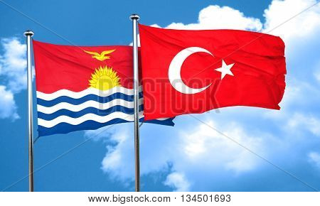 Kiribati flag with Turkey flag, 3D rendering
