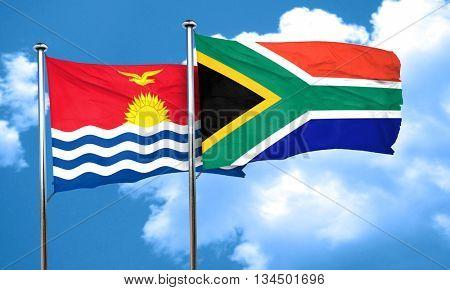 Kiribati flag with South Africa flag, 3D rendering