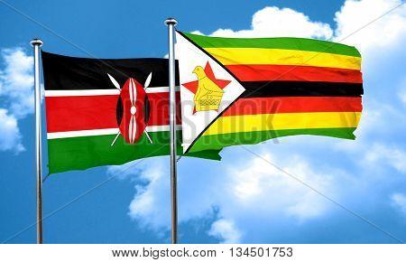 Kenya flag with Zimbabwe flag, 3D rendering