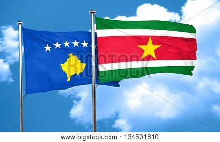 Kosovo flag with Suriname flag, 3D rendering