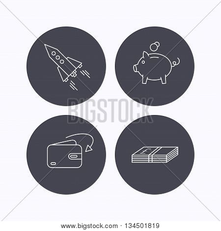 Piggy bank, cash money and startup rocket icons. Wallet, receive money linear signs. Flat icons in circle buttons on white background. Vector