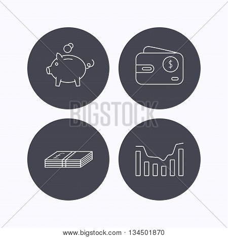 Piggy bank, cash money and dynamics chart icons. USD wallet linear sign. Flat icons in circle buttons on white background. Vector