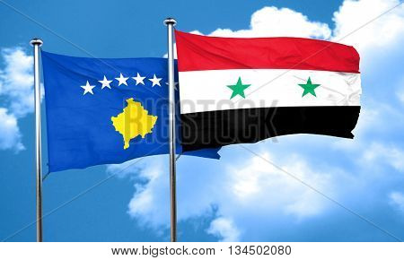 Kosovo flag with Syria flag, 3D rendering
