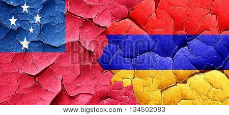 Samoa flag with Armenia flag on a grunge cracked wall