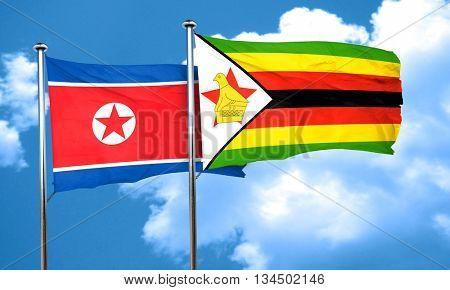 North Korea flag with Zimbabwe flag, 3D rendering