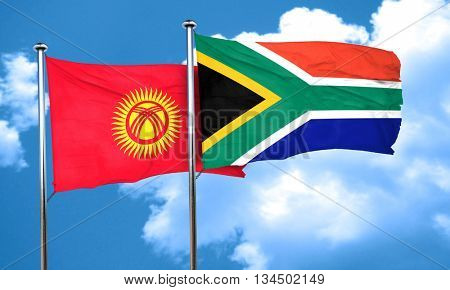Kyrgyzstan flag with South Africa flag, 3D rendering