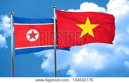 North Korea flag with Vietnam flag, 3D rendering