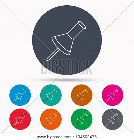 Pushpin icon. Pin tool sign. Office stationery symbol. Icons in colour circle buttons. Vector