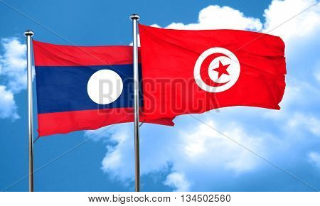 Laos flag with Tunisia flag, 3D rendering