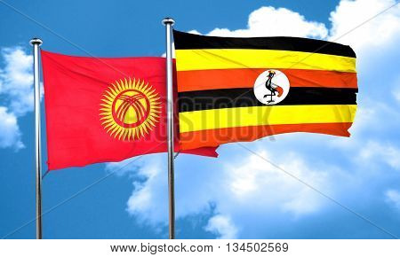 Kyrgyzstan flag with Uganda flag, 3D rendering