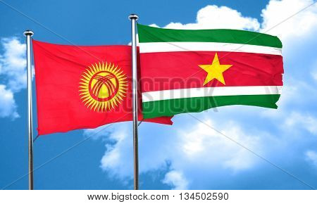 Kyrgyzstan flag with Suriname flag, 3D rendering