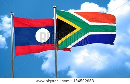 Laos flag with South Africa flag, 3D rendering