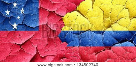 Samoa flag with Colombia flag on a grunge cracked wall