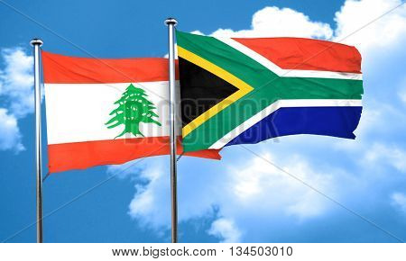 Lebanon flag with South Africa flag, 3D rendering