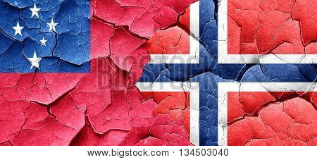 Samoa flag with Norway flag on a grunge cracked wall