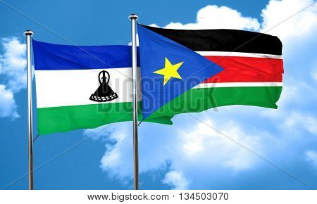 Lesotho flag with South Sudan flag, 3D rendering