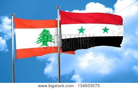 Lebanon flag with Syria flag, 3D rendering