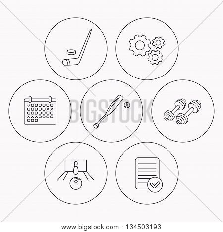Ice hockey, bowling and baseball icons. Fitness sport linear sign. Check file, calendar and cogwheel icons. Vector