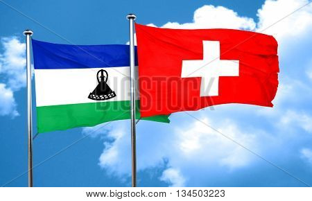 Lesotho flag with Switzerland flag, 3D rendering